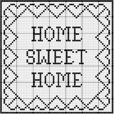 """Filet Crochet 76507 """"Home Sweet Home"""" Filet Sampler Crochet Patterns Filet, Crochet Tunic Pattern, Crochet Shawl Free, Embroidery Patterns, Cross Stitch Charts, Cross Stitch Designs, Cross Stitch Patterns, Cross Stitching, Cross Stitch Embroidery"""