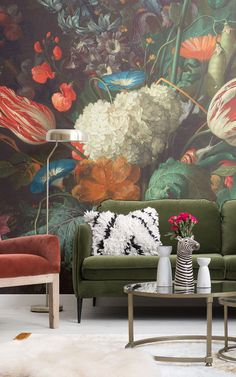 When it comes to maximalism, it's just not possible to have too much of a good thing. These examples of indulgent styling with statement wall art by MuralsWallpaper offer tempting inspiration that could encourage you to welcome in the 'more is more' philosophy of maximalism. The opulent murals work really well in lavish living rooms. #maximalism #maximalistwalls #busywallpaper #busywalls #artwallpaper #maximalistwallpaper