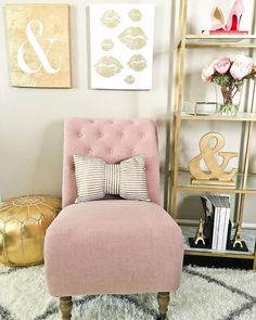 Love the pink and gold accents for a home office space