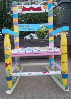 Dr. Seuss Chair (By mommanugget on Etsy)... Finn has a rocking chair that needs to be painted. Hmmm