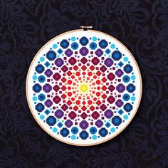 Fantastic Pics Cross Stitch mandala Thoughts Dot Mandala PDF Cross Stitch Pattern – rainbow colored dot and circles, inspired by rock art and Dragon Cross Stitch, Cross Stitch Art, Cross Stitch Designs, Cross Stitching, Cross Stitch Embroidery, Cross Stitch Patterns, Mandala Pattern, Mandalas Painting, Embroidery Stitches