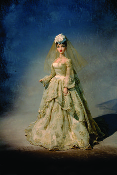 JAMIEshow Gene Marshall ~ in OOAK Jerrold DeWolfe Silk satin charmeuse wedding gown, sheer embroidered jacket, petticoat, shoes, earrings and headpiece ~ Image and styling by Pat Henry ~ The Studio Commissary/kw