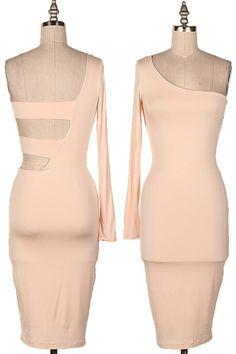 ONE SHOULDER BODY CON DRESS W/ CUTOUT AT BACK.  #4D-D6879