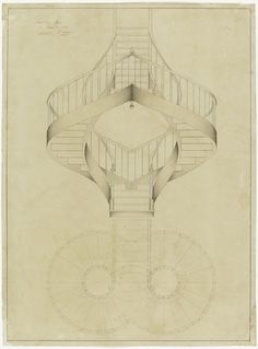 Drawing, Elevation and Plan View for a Double Spiral Staircase, December 1887