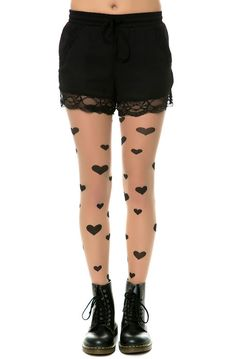 Intimates Boutique Tights Heart Print Sheer Beige & Black