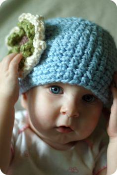 The Sitting Tree: Free Crochet Pattern: Organic Cotton Flower Hat for 6-12 month old baby