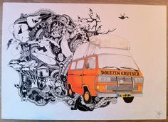 Drawing of a Volkswagen t3 on A3 size paper. I made this drawing for a friend of mine. He and 2 friends went on a road trip to africa whit there van. Used materials: - canson paper - copic multi liner - pencil - promarkers