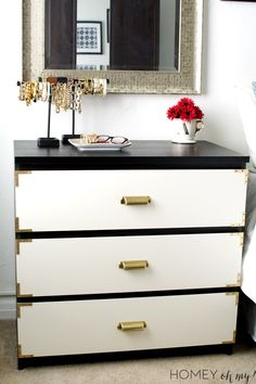 Campaign Style Dresser- IKEA Malm Makeover - Homey Oh My!