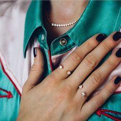 Anita Ko Orbit rings and Floating diamond necklace, on Net-a-Porter