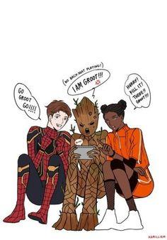 The teenage Avengers Funny Marvel Memes, Dc Memes, Marvel Jokes, Marvel Heroes, Marvel Kids, Avengers Comics, Avengers Memes, Marvel Universe, Superfamily Avengers
