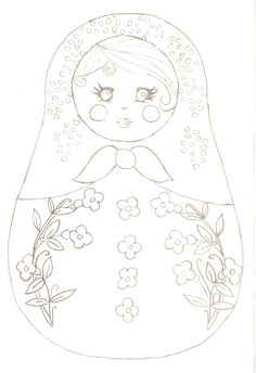 matryoshka, coloriage, Fabric Dolls, Paper Dolls, Embroidery Designs, Matryoshka Doll, Quilling Patterns, Coloring Book Pages, Felt Dolls, Printable Art, Printables