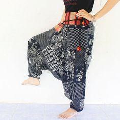 balck flowers harem pants hand weave cotton,yoga,spa,hippie, boho,bohemian, gypsy,aladddib,jumpsuit,genie ,baggy trousers,unisex pants.