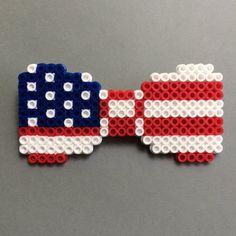 Patriotic American Flag Perler Bead Bow Tie red by HarmonArt2
