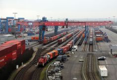 by container-mag.com Hamburg rail in rude health. The rail terminal at the HHLA Container Terminal Altenwerde