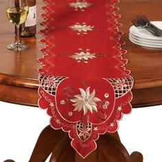 Christmas Embroidered Holiday Linens, Runner