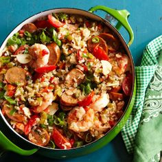 This lightened-up Chicken Andouille & Shrimp Jambalaya lets you skip the guilt, but not the flavor!