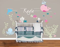 Adorable! Also available in other colours. Under the Sea Decal Girls room- Nautical- Fish Nursery Wall Vinyl. $80.00, via Etsy.