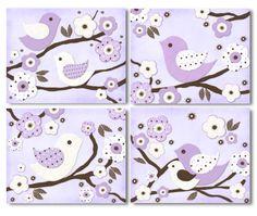 Lavender Migi Blossoms & Birdie Nursery Bedding art prints for baby or kids room (set of 4). $20.00, via Etsy.