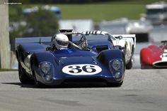 1968 Lola T160 in Dan Gurney colors. The T160 was introduced in 1968 to compete with the customer McLaren M6B cars. It proved to be competitive with the 2nd string cars, but was never a real threat to the McLaren M8A team cars.
