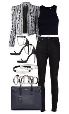 """""""Untitled #3538"""" by plainly-marie ❤ liked on Polyvore featuring Yves Saint Laurent, Balmain, T By Alexander Wang, Boohoo and Cartier"""