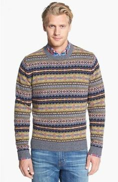 Shop this look for $43:  http://lookastic.com/men/looks/blue-jeans-and-grey-crew-neck-sweater-and-red-longsleeve-shirt/278  — Blue Jeans  — Grey Fair Isle Crew-neck Sweater  — Red Plaid Longsleeve Shirt