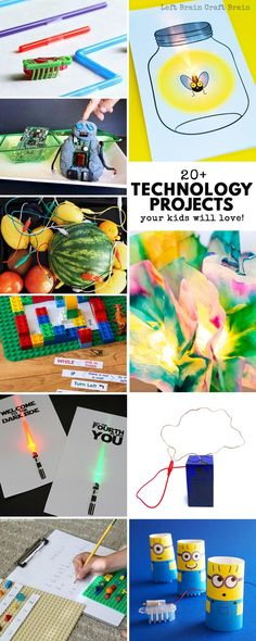 Your STEAM kids are going to love these technology projects for kids! These fun STEM projects are perfect for problem solving or science fair activities. There are so many great learning activities for science, math, engineering, art and math! #STEM #STEAMkids #technolgyactivities  via @craftbrain