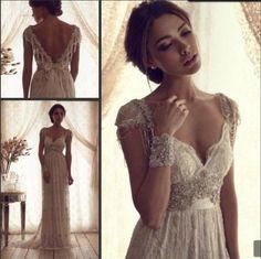 2015 Sexy Lace cap shoulder sweetheart Wedding Dress Beaded Bridal Gown custom #Handmade #Aline