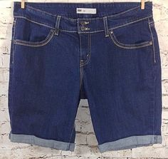 LEVI'S Bermuda Jean Shorts Dark Wash Plus Size 18 Cuffed Stretch Denim 36x10 EUC #Levis #Jean