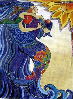 Image Detail for - Ocean Song Laurel Burch Designs Handpainted Needlepoint Canvas 18 . Mermaid Quilt, Mermaid Art, Mermaid Paintings, Tattoo Mermaid, Fantasy Mermaids, Mermaids And Mermen, Laurel Burch, Cosplay Steampunk, Oceans Song