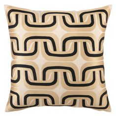 Trina Turk Pillow Embroidered Linen Geo Link Taupe/Black as seen in Cambria Style Summer 2013.