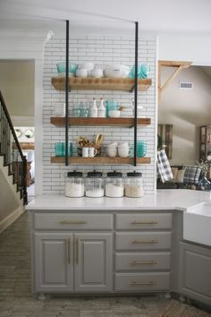 Links to every product used in this shot of the new kitchen renovation... Also listed are paint colors and tile sources. www.shanty-2-chic.com