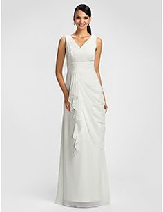 Bridesmaid Dress Floor Length Chiffon Sheath Column V Neck D... – USD $ 79.99