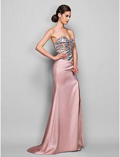 robe de soirée en satin de train trompette / sirène de balayage sweetheart / pinceau tronçon (889 749) - USD $ 117.99