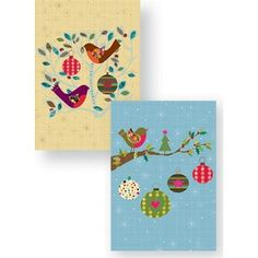 Pack of 10 Cards, Birds and Baubles. $12.95  #Oxfam #Christmas #fairtrade