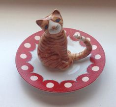 Upcycled Vintage Orange Tabby Cat Jewelry by TizzyLishBoutique, $14.00