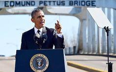 President Barack Obama speaks near the Edmund Pettus Bridge