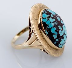 Yellow Gold Turquoise Cabacon Ring for auction. Please see attached appraisal image for more information. Gemstone Rings, Auction, Canada, Turquoise, Yellow, Antiques, Gold, Jewelry, Antiquities