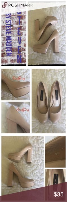 Steven by Steve Madden nude platform pumps Gently worn, some small scuffing(see pics). Normal wear on soles. EUC.                                                        ❇️ Reasonable Offers Only Please ❇️ Smoke and pet free ❇️ If this is a bundle, I WILL NOT break it up and sell    separately ❇️ I do not model anything; I will provide measurements if needed.  ❇️ Please do not hesitate to ask questions, .         ❇️ NO HOLDS, NO TRADES, POSH RULES ONLY! Steve Madden Shoes Platforms