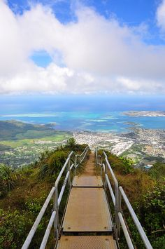 Stairway to Heaven, Haiku Stairs, Oahu, Hawaii. Although Lizzy has lived in Hawaii all her life, she has never hiked Stairway to Heaven.