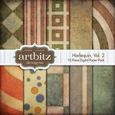 Harlequin Vol. 2, 10 Piece Distressed Digital Scrapbooking Paper by artbitz on Etsy, $4.00