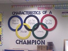 We had an Olympic theme this year, so my mother helped create the Olympic Rings . - We had an Olympic theme this year, so my mother helped create the Olympic Rings for me! Sports Theme Classroom, School Classroom, Classroom Decor, Classroom Organization, Classroom Management, Theme Sport, Olympic Idea, Olympic Games For Kids, Pe Ideas