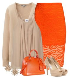 """orange pop"" by divacrafts ❤ liked on Polyvore featuring Uniqlo, H&M, Vero Moda, Jimmy Choo, Louis Vuitton, R.J. Graziano and Original"