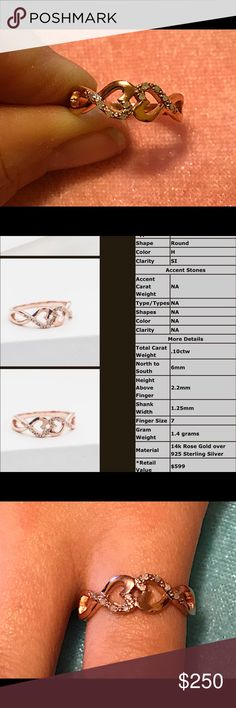 (.10ctw) 14KT rose gold over 925 SS infinity ring Beautiful!!! ( .10ctw ) natural diamonds 14KT rose gold over 925 Sterling Silver infinity double heart ring size 7 14KT rose gold over 925 Jewelry Rings