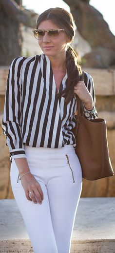 Persun Black And White Vertical Stripe Wrap Front Women's Blouse