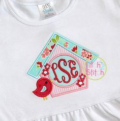I2S Birdhouse Monogram Applique design