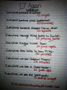 17 Again movie workout!  Want to see more workouts like this one? Follow us here.