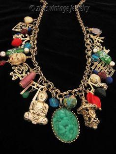 Vintage-ASIAN-gold-symbol-lantern-Buddha-figural-art-Glass-CHARM-long-NECKLACE