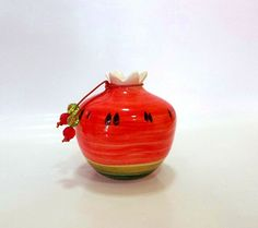 Watermelon ceramic pomegranate by IoannasVeryCHic on Etsy Watermelon Images, Mccoy Pottery, Polish Pottery, Flower Pots, Dinnerware, Candle Holders, Pomegranates, Vase, Unique Jewelry