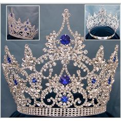 CrownDesigners.com - Continental Blue Sapphire Crown Tiara - Store ($140) ❤ liked on Polyvore featuring accessories, hair accessories, crown, tiaras, jewelry, crown tiara, tiara crown and crown hair accessories