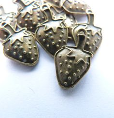 Strawberry Charms in Antiqued Bronze Tone Set of by TheBlueBeadle, $1.95